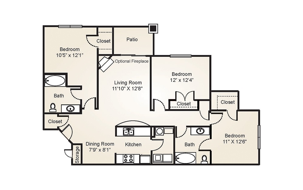 The Magnolia - 3 bedroom floorplan layout with 2 baths and 1196 to 1216 square feet. (2D)