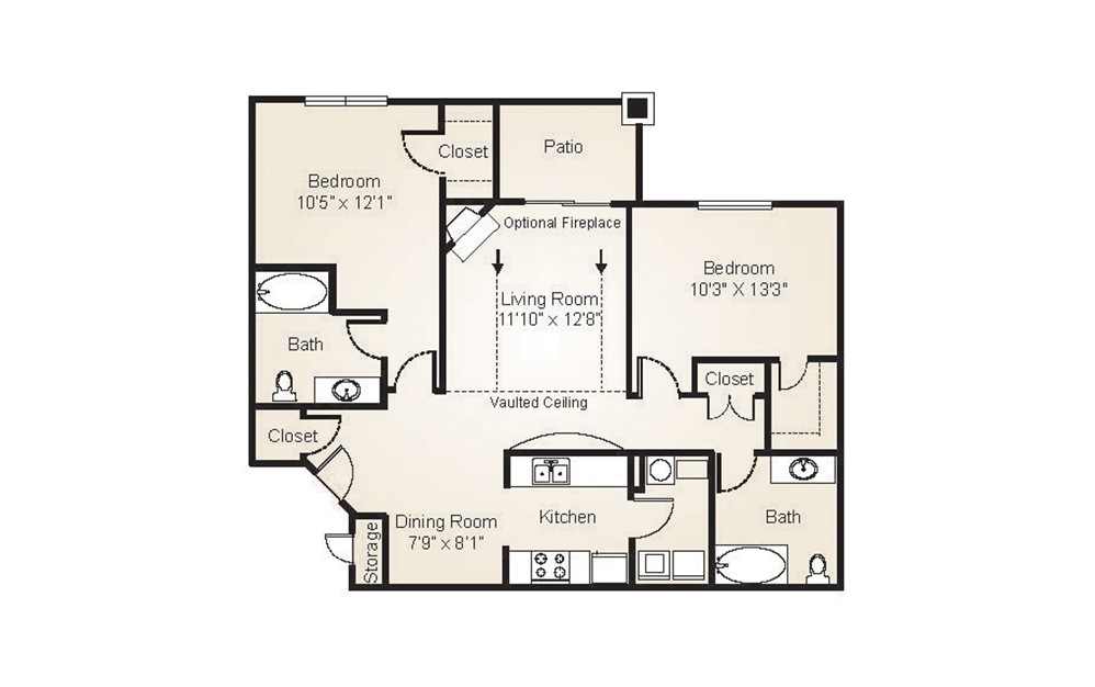 The Dogwood - 2 bedroom floorplan layout with 2 baths and 1026 to 1046 square feet. (2D)
