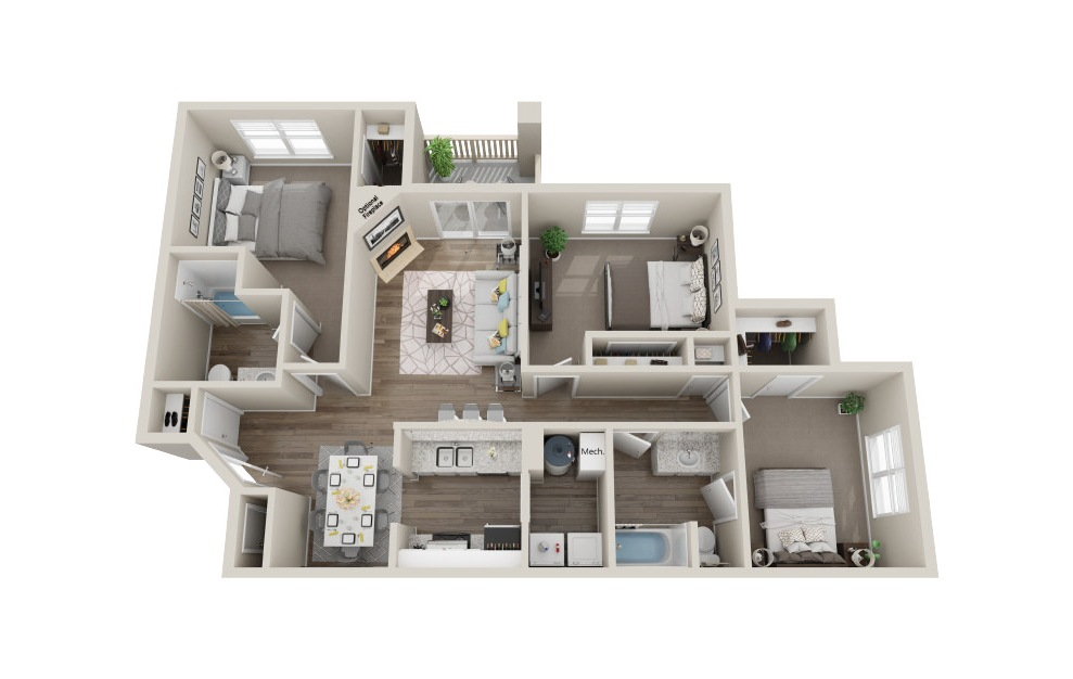 The Magnolia - 3 bedroom floorplan layout with 2 baths and 1196 to 1216 square feet. (3D)